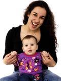 Portrait einer Mutter und des Schätzchens Stockbild