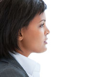 Portrait einer nachdenklichen Geschäftsfrau bei der Arbeit Stockbild