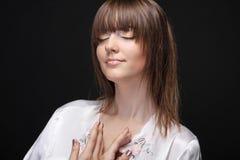 Portrait einer schönen Frau, Karosseriesorgfalt Lizenzfreies Stockbild