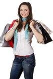 Portrait einer schönen glücklichen heraus kaufenden Frau lizenzfreies stockfoto