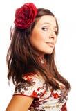 Portrait einer schönen jungen Frau mit stieg Stockbilder