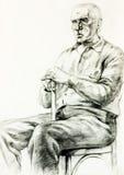Portrait eines älteren Mannes lizenzfreie abbildung