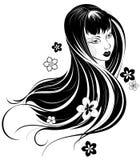 Portrait eines asiatischen Mädchens mit dem langen Haar Stockfotos