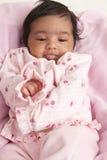 Portrait eines Burping neugeborenen Babys stockbild