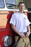 Portrait eines Feuerwehrmannes Stockbild