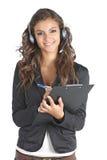 Portrait eines Fragebogenmädchens Stockfotos