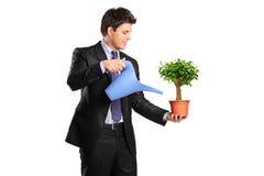 Portrait eines Geschäftsmannes, der einen Blumenpotentiometer anhält Lizenzfreie Stockbilder