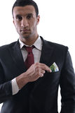 Portrait eines Geschäftsmannholding und -fang falli Stockbild