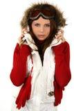 Portrait eines glücklichen Snowboardings des jungen Mädchens Stockbild