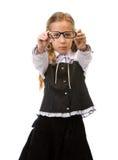 Portrait eines jungen schönen Mädchens mit Gläsern Stockfotografie