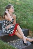 Portrait eines jungen weiblichen Baumusters Stockfoto