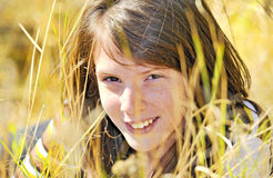 Portrait eines lächelnden Mädchens Stockfotos