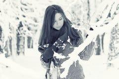 Portrait eines Mädchens im Winterpark Lizenzfreies Stockfoto