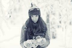 Portrait eines Mädchens im Winterpark Stockfotografie