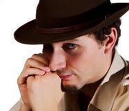 Portrait eines Mannes in einem Hut Stockbild