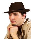 Portrait eines Mannes in einem Hut Stockfotos