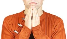 Portrait eines Mannes während eines Gebets Lizenzfreies Stockbild