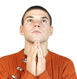 Portrait eines Mannes während eines Gebets Lizenzfreie Stockbilder