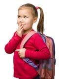Portrait eines netten Schulmädchens mit Rucksack stockbild