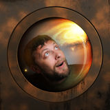 Portrait eines Raumfahrers in einem Raumschiff Stockfotos