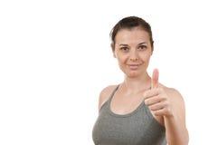 Portrait eines recht jungen Mädchens, das gute Geste tut Lizenzfreie Stockbilder