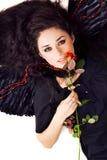 Portrait eines schönen Brunette mit Engel wings Lizenzfreies Stockbild