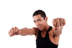 Portrait eines sehr glücklichen jungen lateinischen Mannes mit seinem lizenzfreie stockfotos