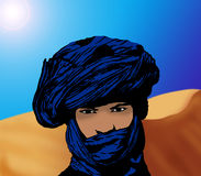 Portrait eines touareg in der Wüste Lizenzfreie Stockbilder