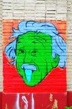 Portrait of Einstein on the wall. Royalty Free Stock Photos