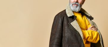 Portrait of elder stylish rich man with a beard and mustache in a leather winter coat. Looking away the camera and He crossed his arms, the studio on a beige royalty free stock image
