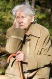 Portrait of an elder woman outdoors Stock Images