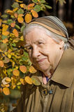 Portrait of an elder woman outdoors Royalty Free Stock Images