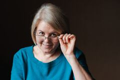 Portrait Elderly Beautiful Woman Retired Glasses Background House Royalty Free Stock Photos