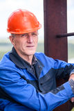 Portrait of an elderly Caucasian workman Stock Photo