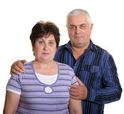 Portrait of an elderly couple. Isolated. White background Royalty Free Stock Photos