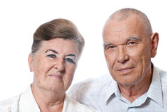 Portrait of an elderly couple. On a white background Stock Photography