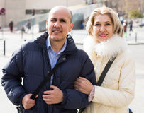 Portrait of elderly couple outdoor during date walking Stock Images