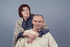 Portrait of elderly couple, studio Royalty Free Stock Images