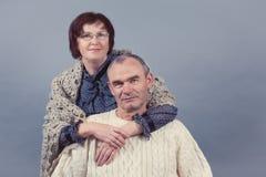 Portrait of elderly couple, studio Stock Photo