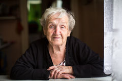 Portrait of an elderly happy woman Royalty Free Stock Images
