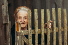 Portrait of an elderly happy woman in the village near the wooden fence. Royalty Free Stock Photos