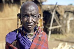 Portrait of elderly Maasai woman Royalty Free Stock Image