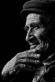 Portrait of elderly man. Face of the old person, in wrinkles, black and white Royalty Free Stock Image