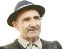 Portrait of elderly man looking sideways Stock Photo