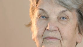 Portrait of a elderly smiling woman stock footage
