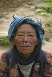 Portrait of elderly south Asian woman from Nepal royalty free stock image