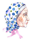 Portrait of elderly woman in blue polka dots white a headscarf. Isolated hand painted watercolor illustration, portrait of elderly woman in blue polka dots white Stock Photo