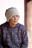 Portrait of elderly woman and cold weather. Stock Photography