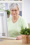 Portrait of elderly woman with computer smiling Stock Photography