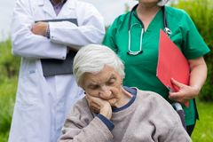 Portrait of elderly woman with dementia disease royalty free stock images